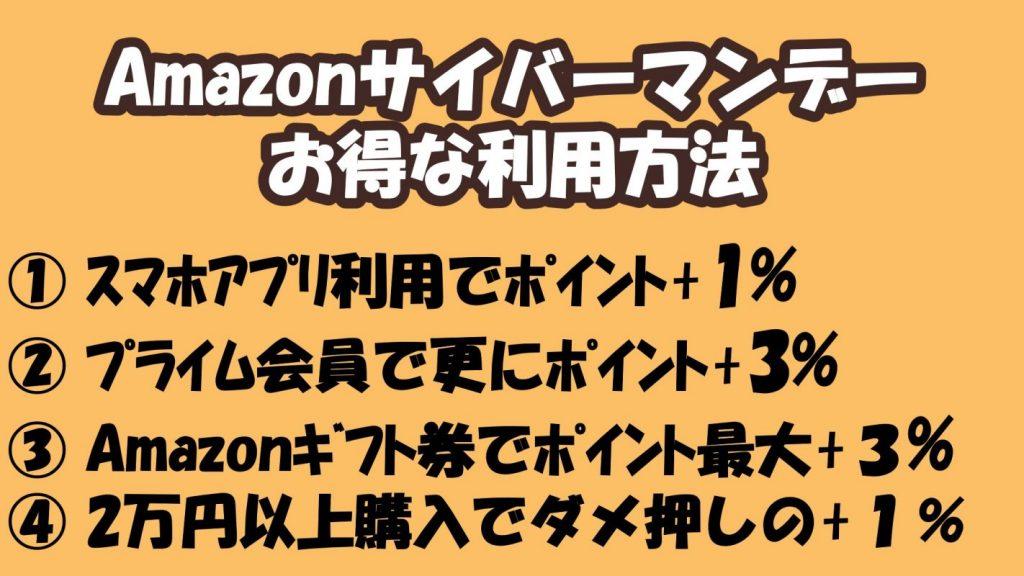 Amazonサイバーマンデー_お得な利用方法_ポイントUP