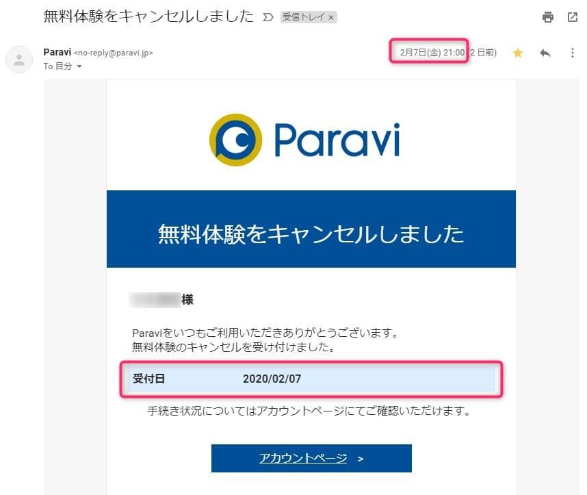 Paravi_無料体験登録_メール